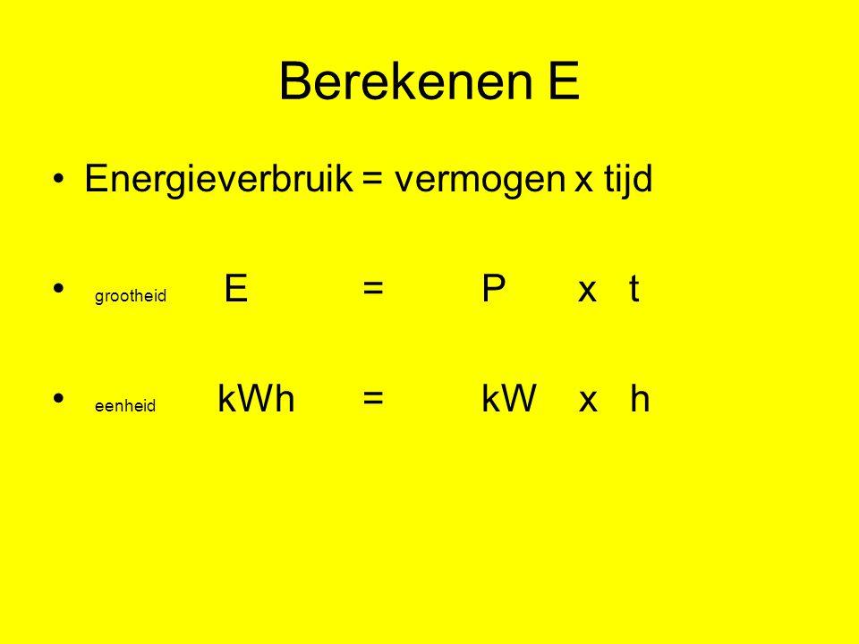 Berekenen E Energieverbruik = vermogen x tijd grootheid E = P x t