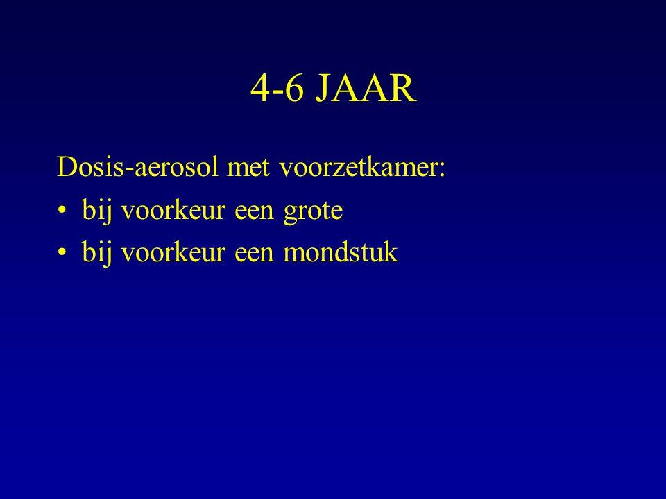 4-6 JAAR Dosis-aerosol met voorzetkamer: bij voorkeur een grote