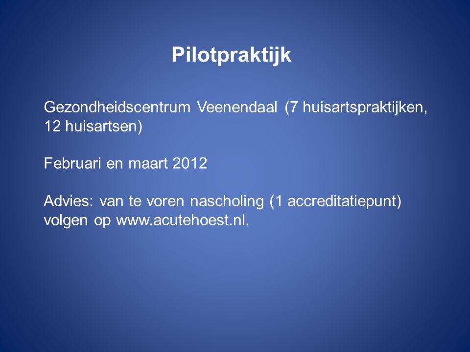 Pilotpraktijk Gezondheidscentrum Veenendaal (7 huisartspraktijken, 12 huisartsen) Februari en maart 2012.