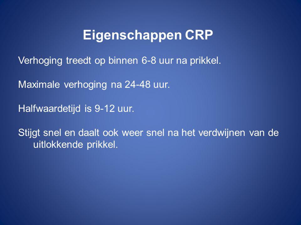 Eigenschappen CRP Verhoging treedt op binnen 6-8 uur na prikkel.