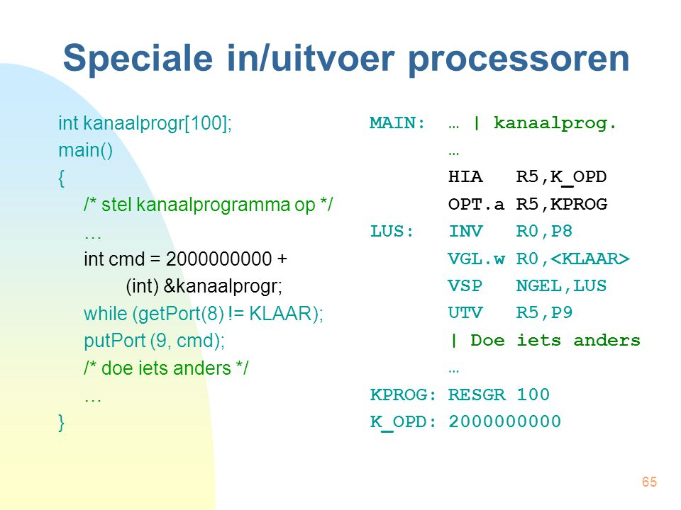 Speciale in/uitvoer processoren