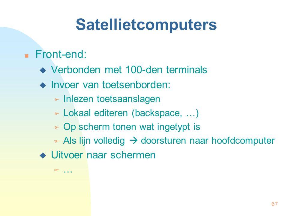 Satellietcomputers Front-end: Verbonden met 100-den terminals
