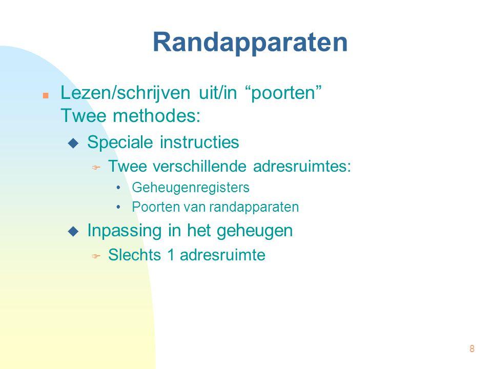 Randapparaten Lezen/schrijven uit/in poorten Twee methodes: