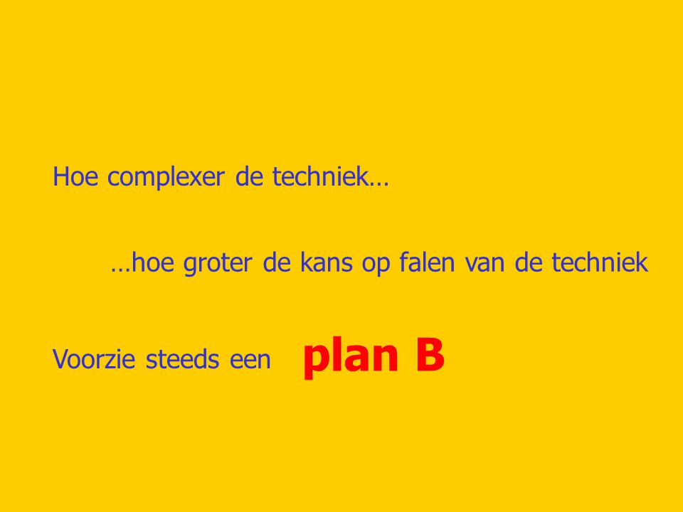 plan B Hoe complexer de techniek…