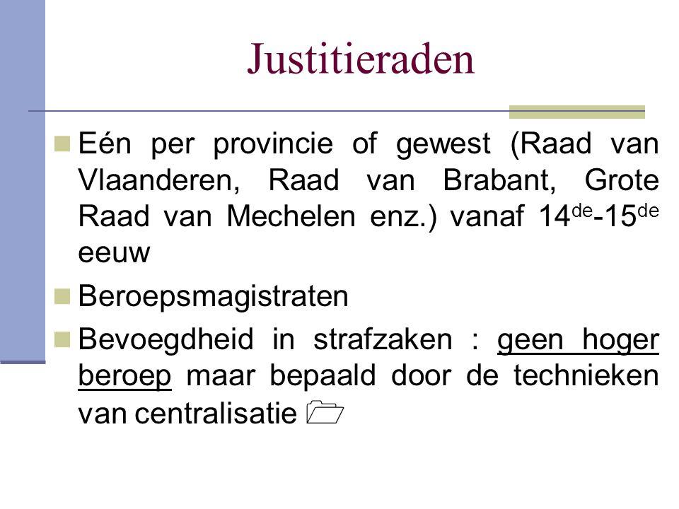Justitieraden Eén per provincie of gewest (Raad van Vlaanderen, Raad van Brabant, Grote Raad van Mechelen enz.) vanaf 14de-15de eeuw.