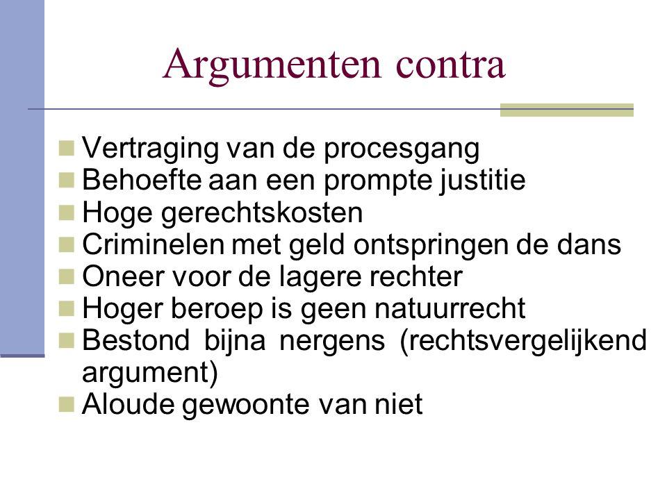 Argumenten contra Vertraging van de procesgang