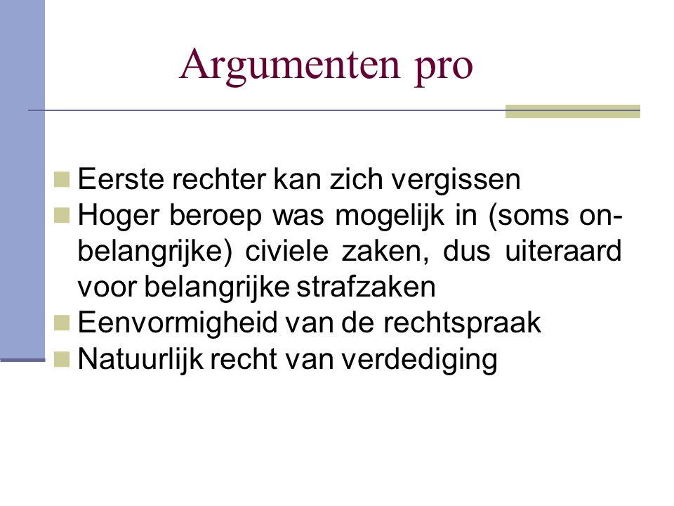 Argumenten pro Eerste rechter kan zich vergissen