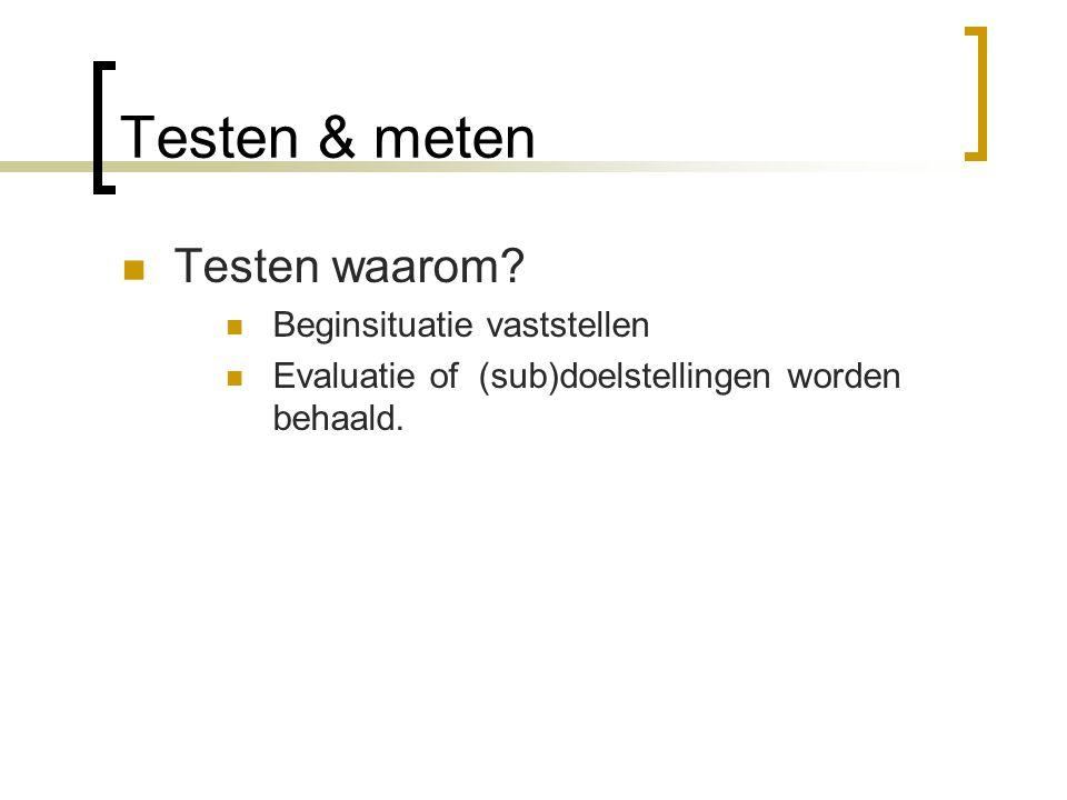 Testen & meten Testen waarom Beginsituatie vaststellen