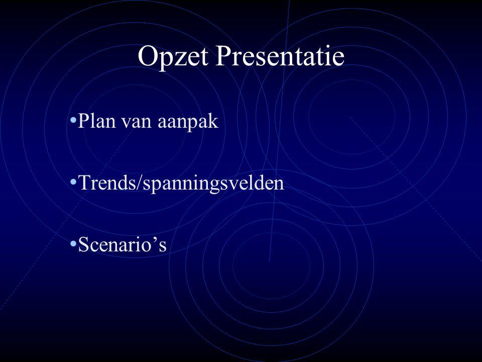 Plan van aanpak Trends/spanningsvelden Scenario's