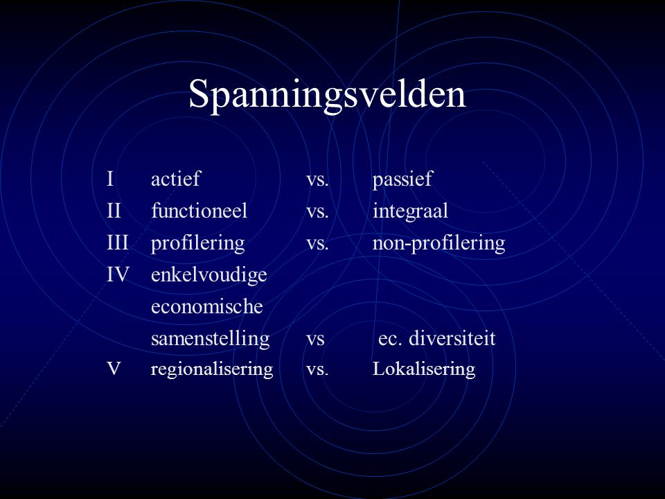 Spanningsvelden I actief vs. passief II functioneel vs. integraal