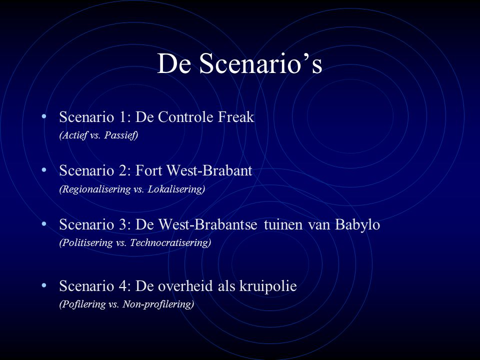 De Scenario's Scenario 1: De Controle Freak