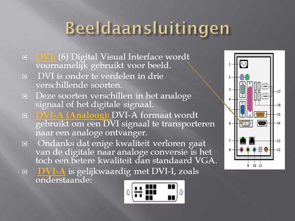 Beeldaansluitingen DVI: (6) Digital Visual Interface wordt voornamelijk gebruikt voor beeld. DVI is onder te verdelen in drie verschillende soorten.