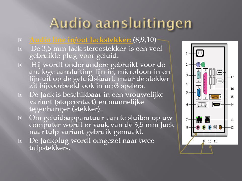 Audio aansluitingen Audio line in/out Jackstekker: (8,9,10)