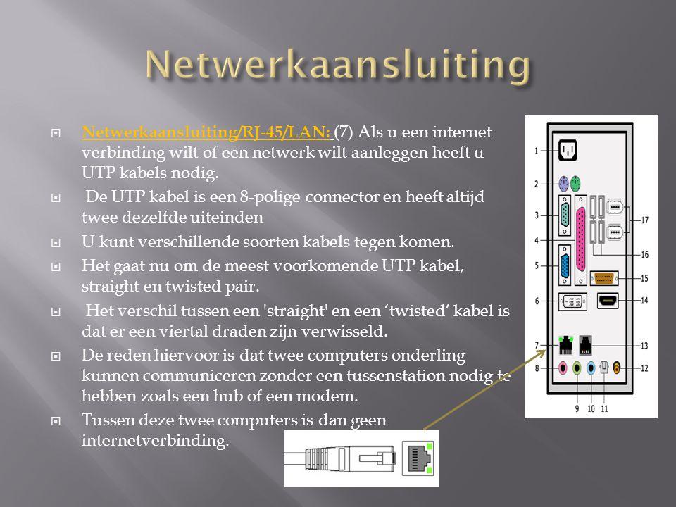 Netwerkaansluiting Netwerkaansluiting/RJ-45/LAN: (7) Als u een internet verbinding wilt of een netwerk wilt aanleggen heeft u UTP kabels nodig.