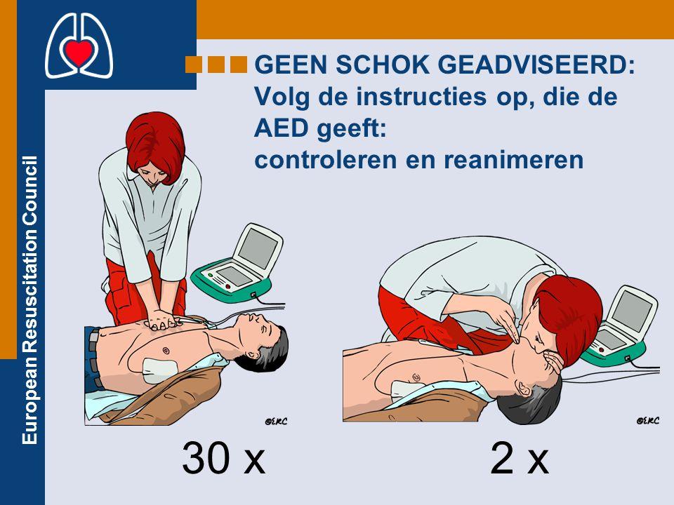 GEEN SCHOK GEADVISEERD: Volg de instructies op, die de AED geeft: controleren en reanimeren