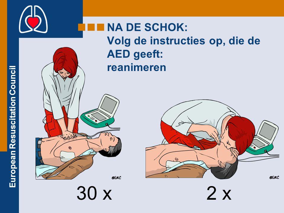 NA DE SCHOK: Volg de instructies op, die de AED geeft: reanimeren