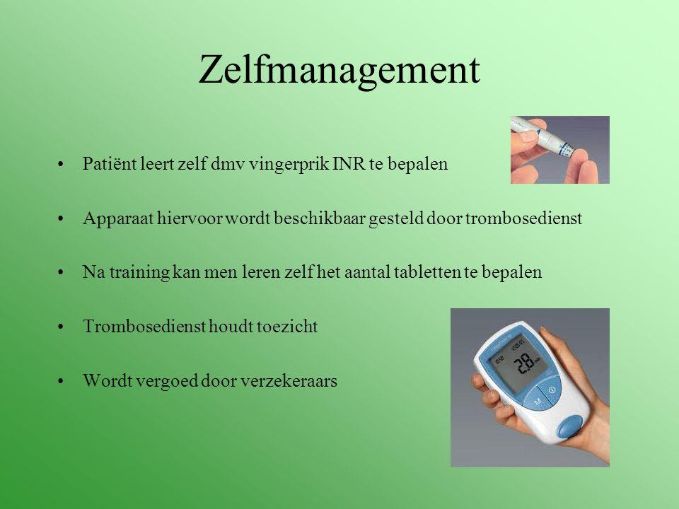 Zelfmanagement Patiënt leert zelf dmv vingerprik INR te bepalen