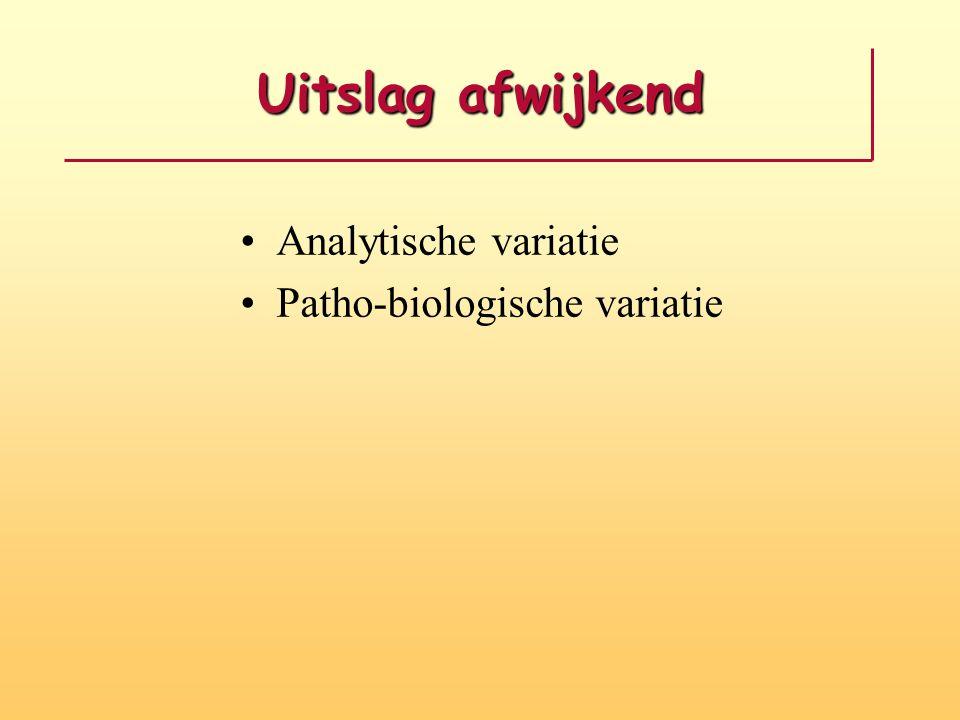 Uitslag afwijkend Analytische variatie Patho-biologische variatie
