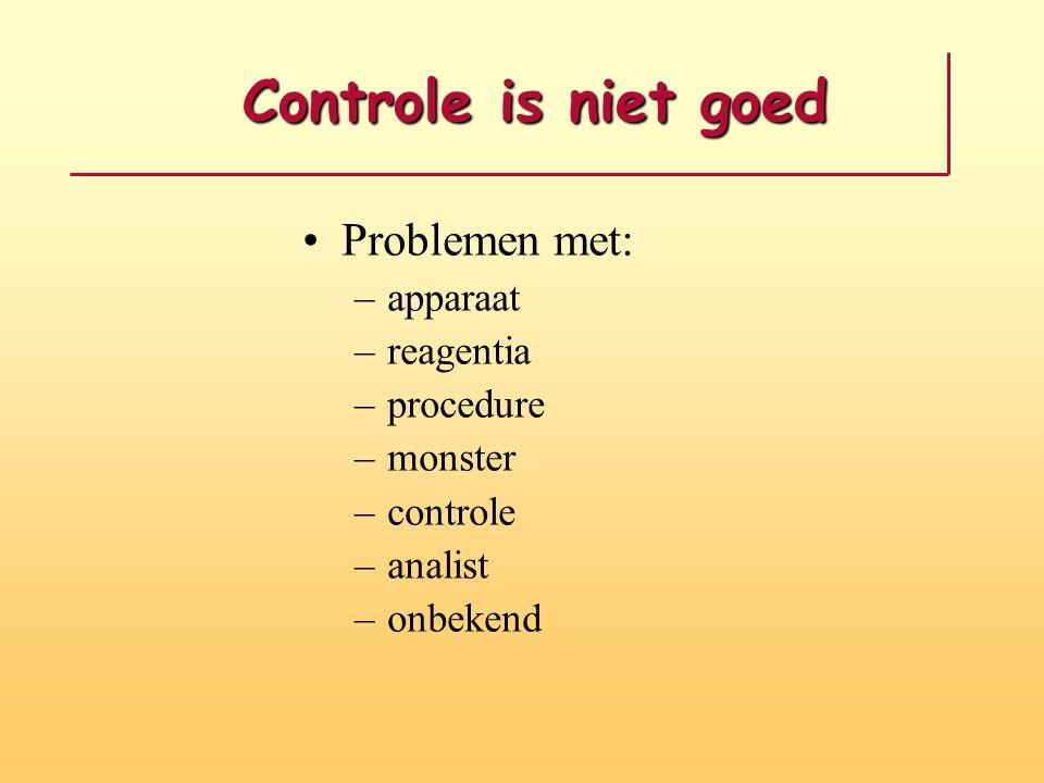 Controle is niet goed Problemen met: apparaat reagentia procedure