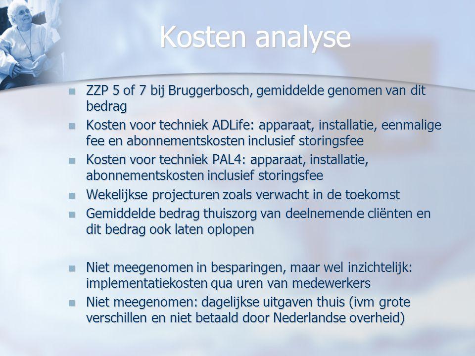 Kosten analyse ZZP 5 of 7 bij Bruggerbosch, gemiddelde genomen van dit bedrag.