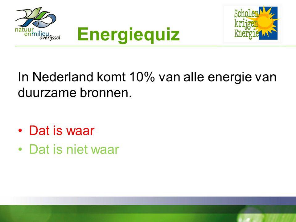 Energiequiz In Nederland komt 10% van alle energie van duurzame bronnen. Dat is waar. Dat is niet waar.