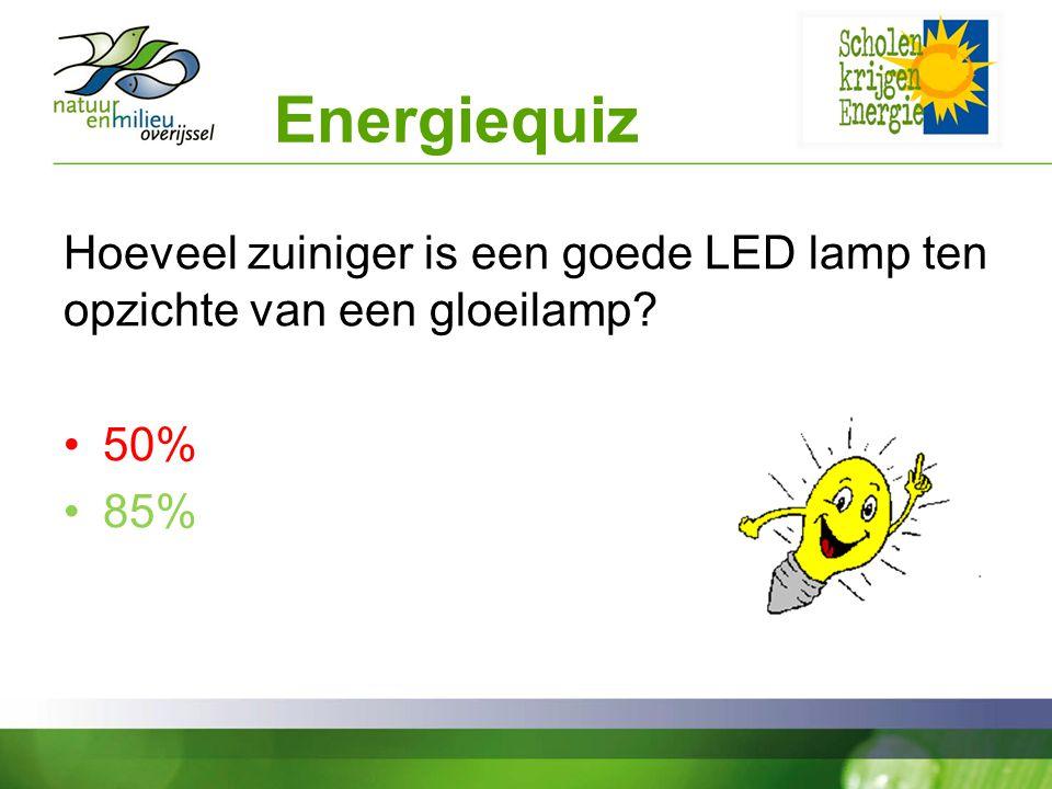 Energiequiz Hoeveel zuiniger is een goede LED lamp ten opzichte van een gloeilamp.