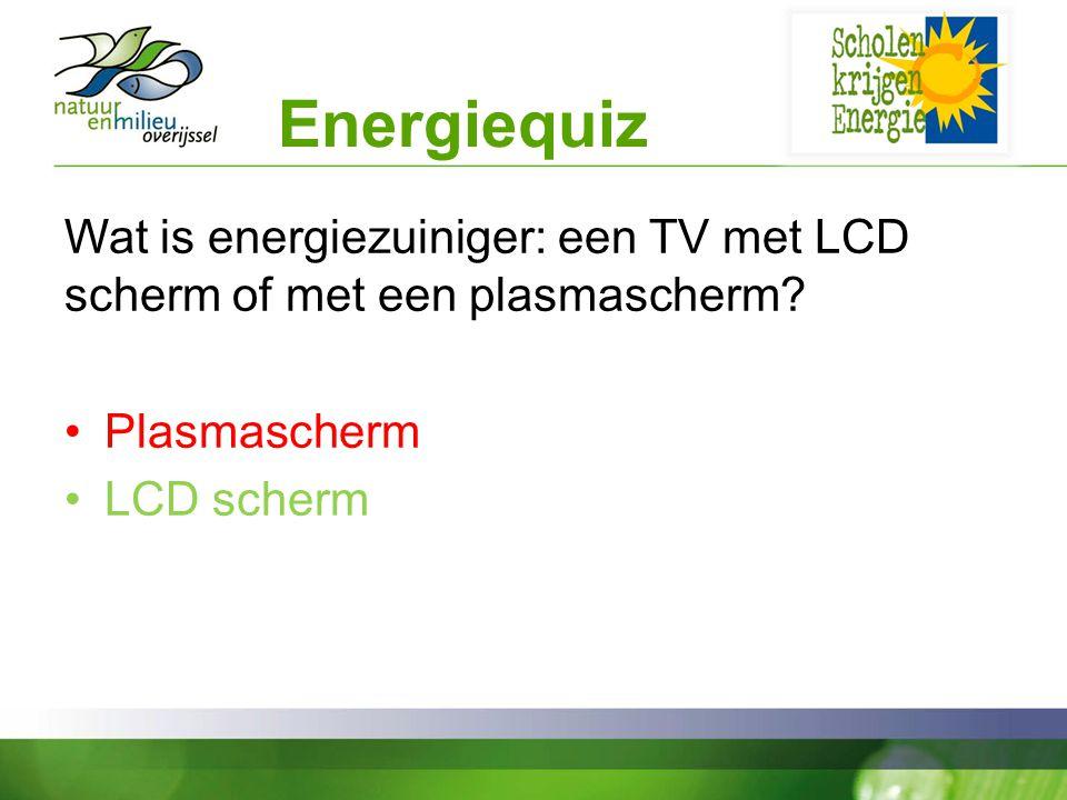Energiequiz Wat is energiezuiniger: een TV met LCD scherm of met een plasmascherm Plasmascherm. LCD scherm.
