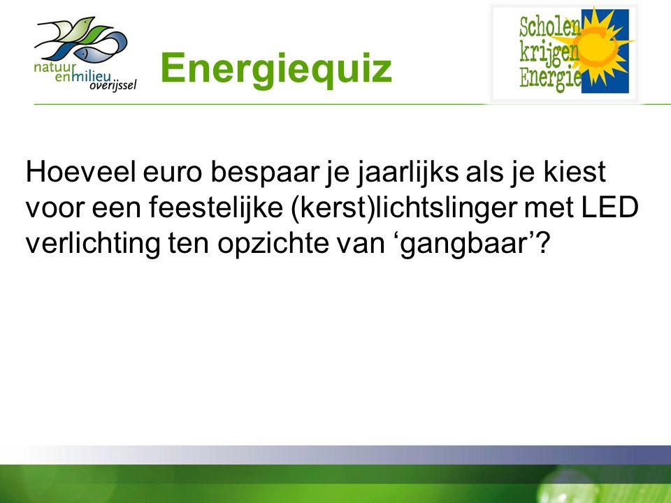 Energiequiz Hoeveel euro bespaar je jaarlijks als je kiest voor een feestelijke (kerst)lichtslinger met LED verlichting ten opzichte van 'gangbaar'