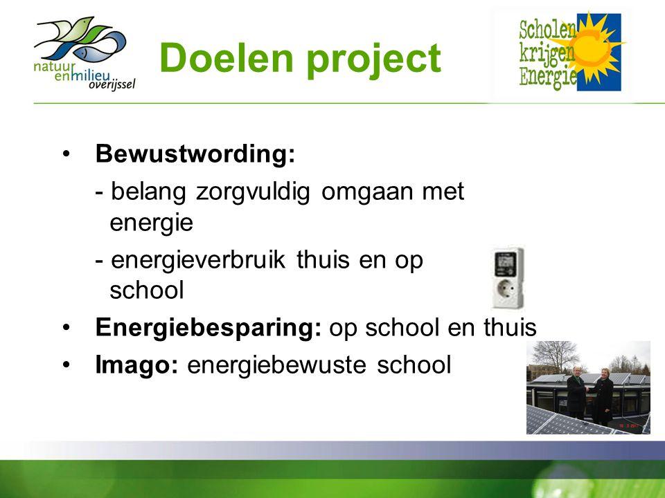 Doelen project Bewustwording: - belang zorgvuldig omgaan met energie