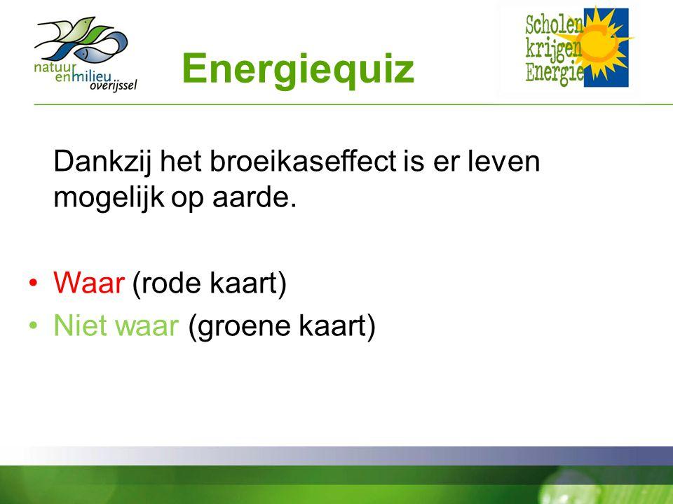 Energiequiz Waar (rode kaart) Niet waar (groene kaart)
