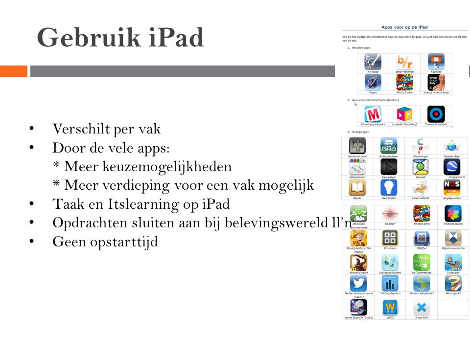 Gebruik iPad Verschilt per vak