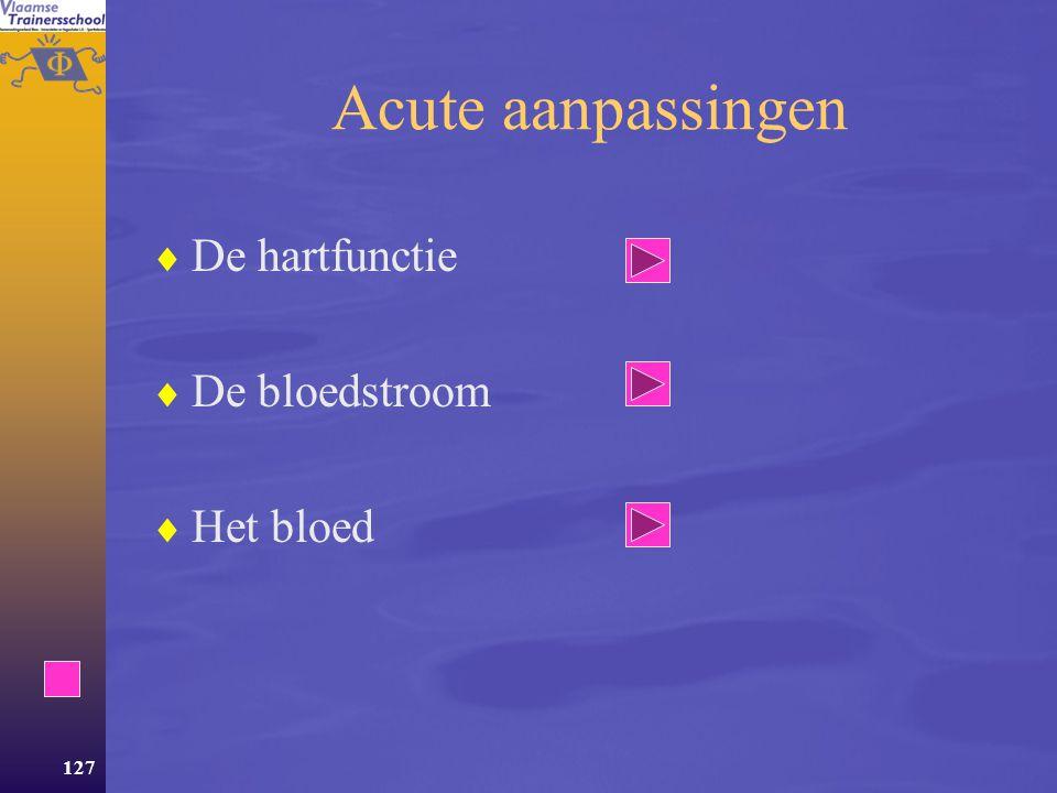 Acute aanpassingen De hartfunctie De bloedstroom Het bloed