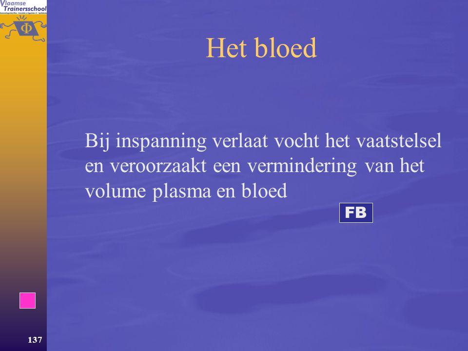Het bloed Bij inspanning verlaat vocht het vaatstelsel en veroorzaakt een vermindering van het volume plasma en bloed.