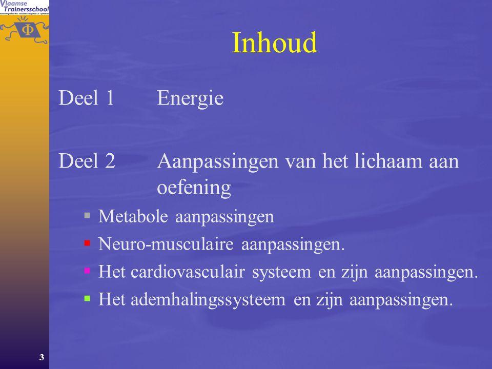 Inhoud Deel 1 Energie Deel 2 Aanpassingen van het lichaam aan oefening
