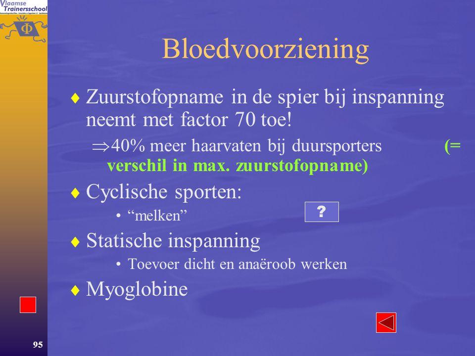 Bloedvoorziening Zuurstofopname in de spier bij inspanning neemt met factor 70 toe!