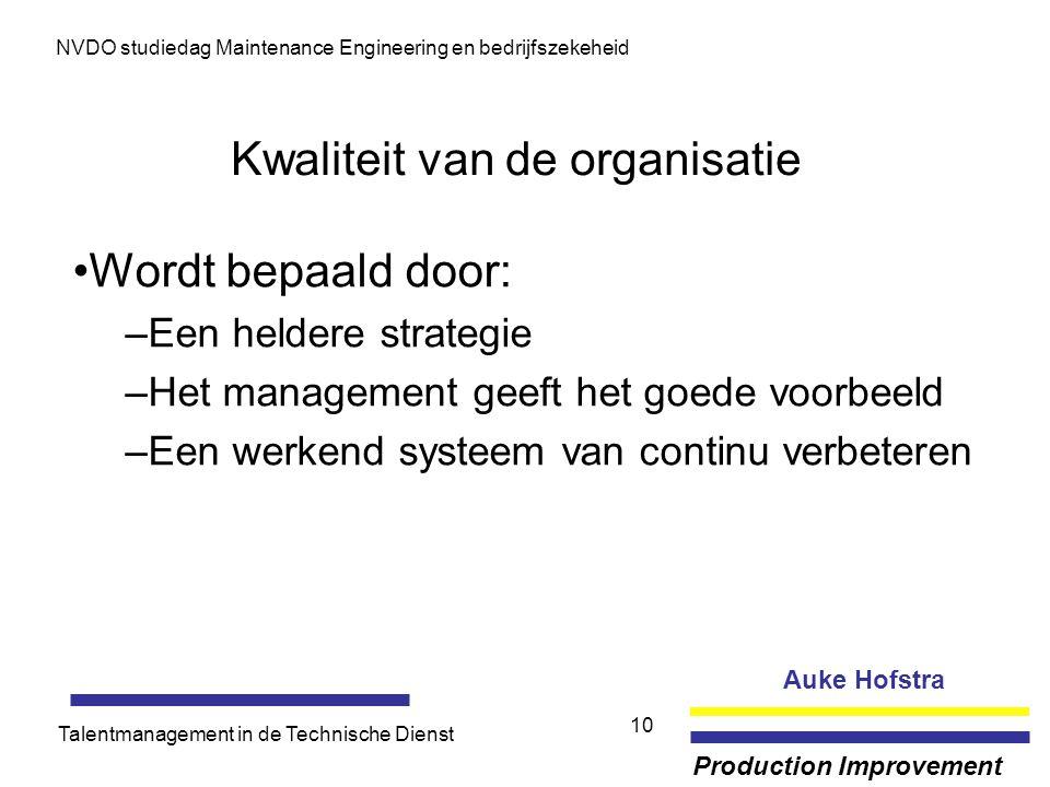 Kwaliteit van de organisatie