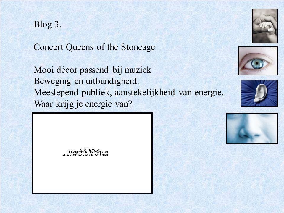Blog 3. Concert Queens of the Stoneage. Mooi décor passend bij muziek. Beweging en uitbundigheid.