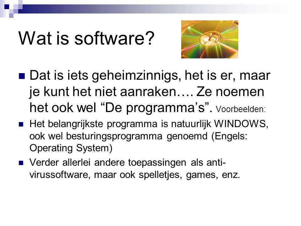 Wat is software Dat is iets geheimzinnigs, het is er, maar je kunt het niet aanraken…. Ze noemen het ook wel De programma's . Voorbeelden:
