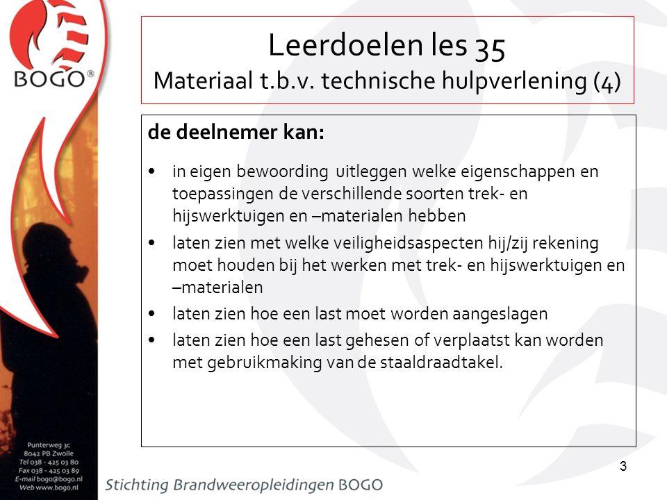 Leerdoelen les 35 Materiaal t.b.v. technische hulpverlening (4)