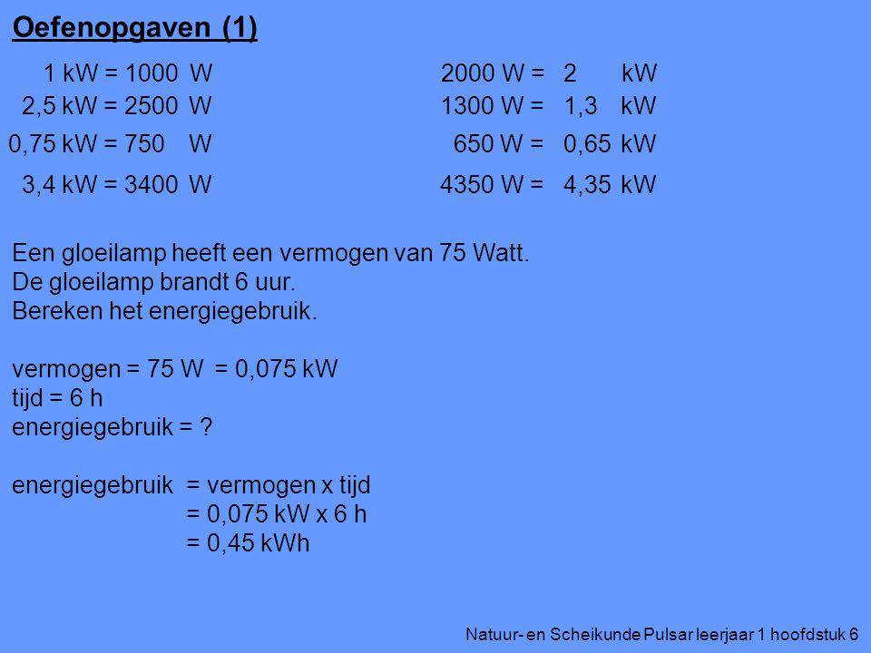 Oefenopgaven (1) 1 kW = W 1000 2000 W = kW 2 2,5 kW = W 2500
