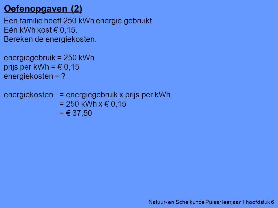 Oefenopgaven (2) Een familie heeft 250 kWh energie gebruikt.
