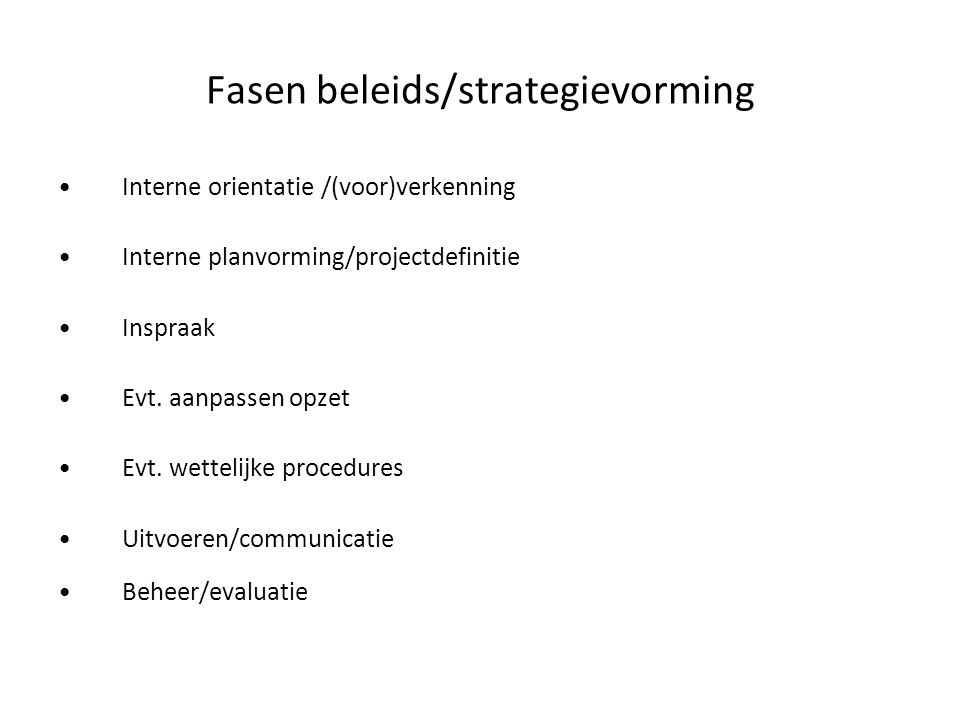 Fasen beleids/strategievorming