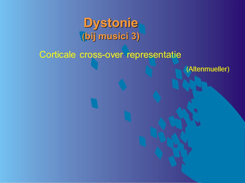 Dystonie (bij musici 3) Corticale cross-over representatie
