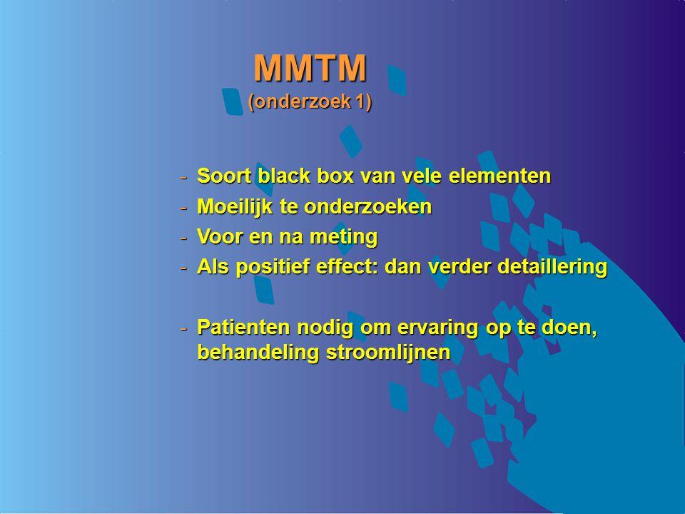 MMTM (onderzoek 1) Soort black box van vele elementen