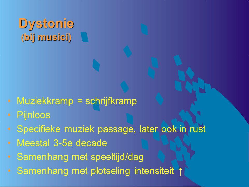 Dystonie (bij musici) Muziekkramp = schrijfkramp Pijnloos