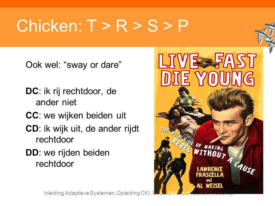Chicken: T > R > S > P