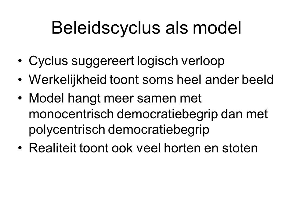 Beleidscyclus als model
