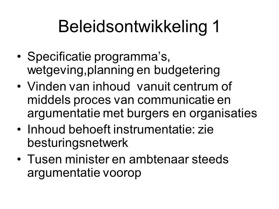 Beleidsontwikkeling 1 Specificatie programma's, wetgeving,planning en budgetering.