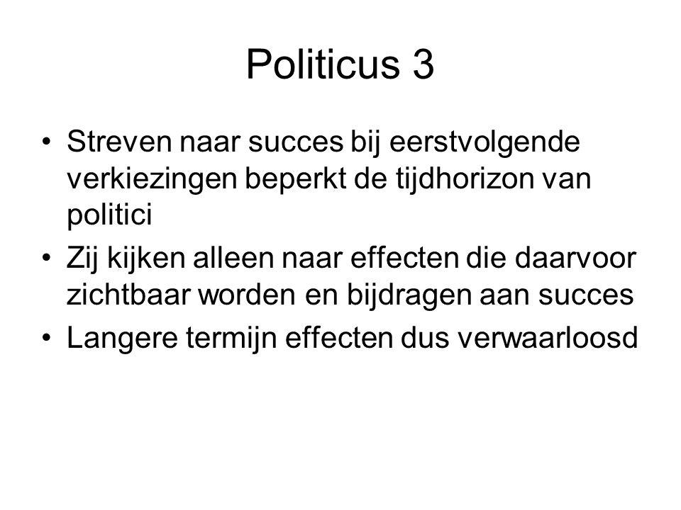 Politicus 3 Streven naar succes bij eerstvolgende verkiezingen beperkt de tijdhorizon van politici.