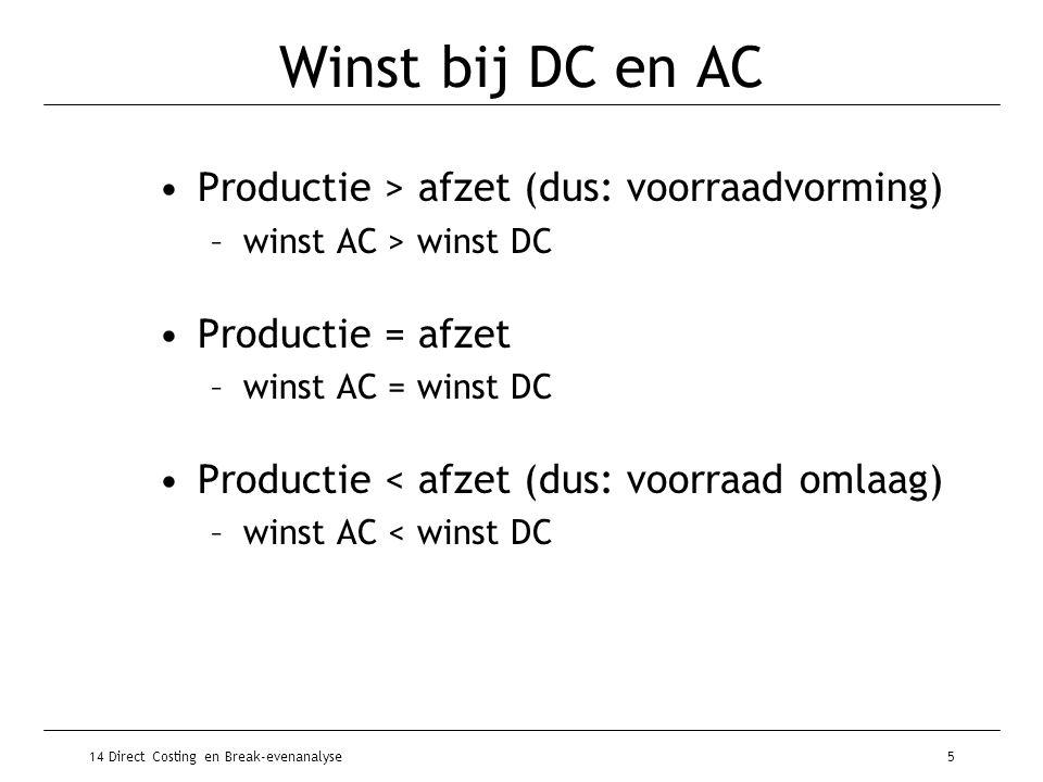 Winst bij DC en AC Productie > afzet (dus: voorraadvorming)